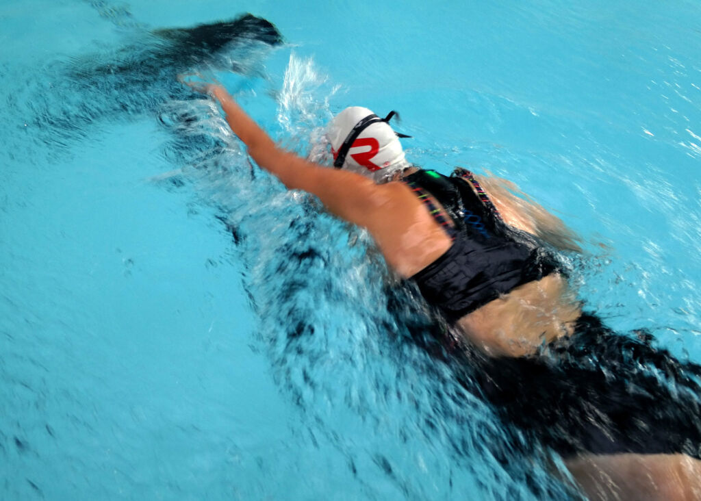 Woman engaged in some training in the swimming pool