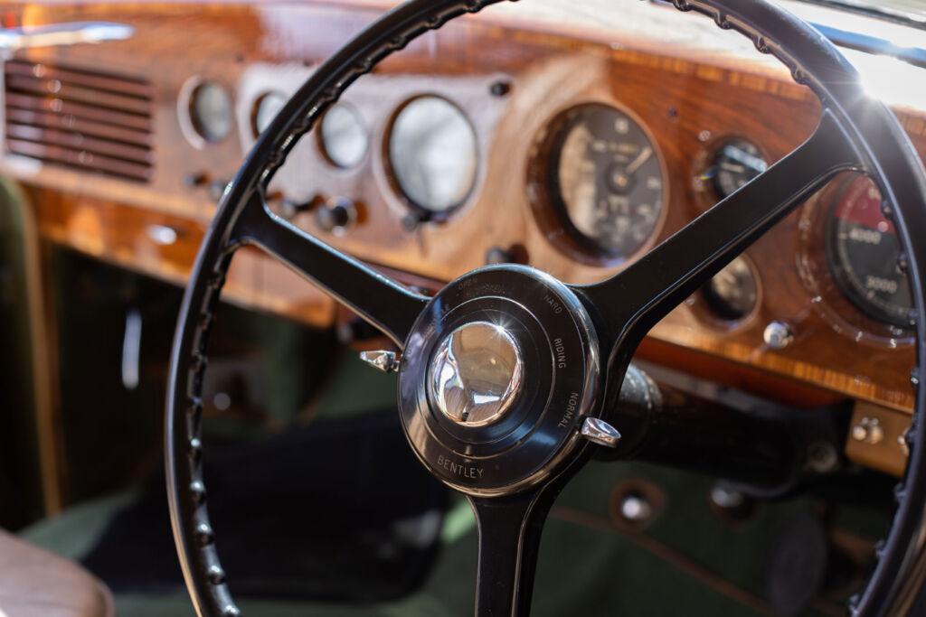 The beautifully restored walnut dashboard in the Bentley