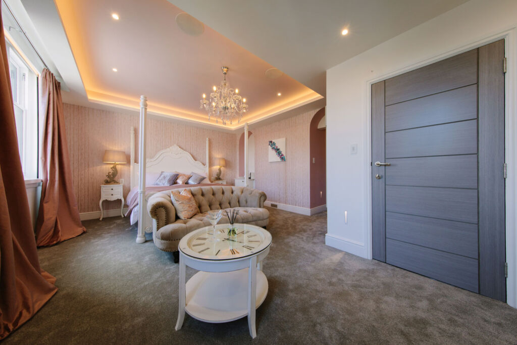 Inside the Parisian themed bedroom suite