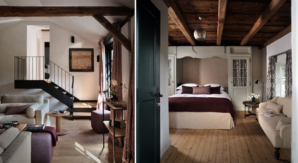 A photo showing the design touches at the property and another showing one if the bedroom interiors