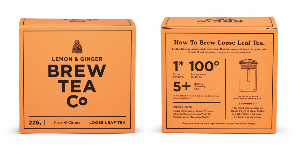 A box of the company's Lemon & Ginger flavoured tea