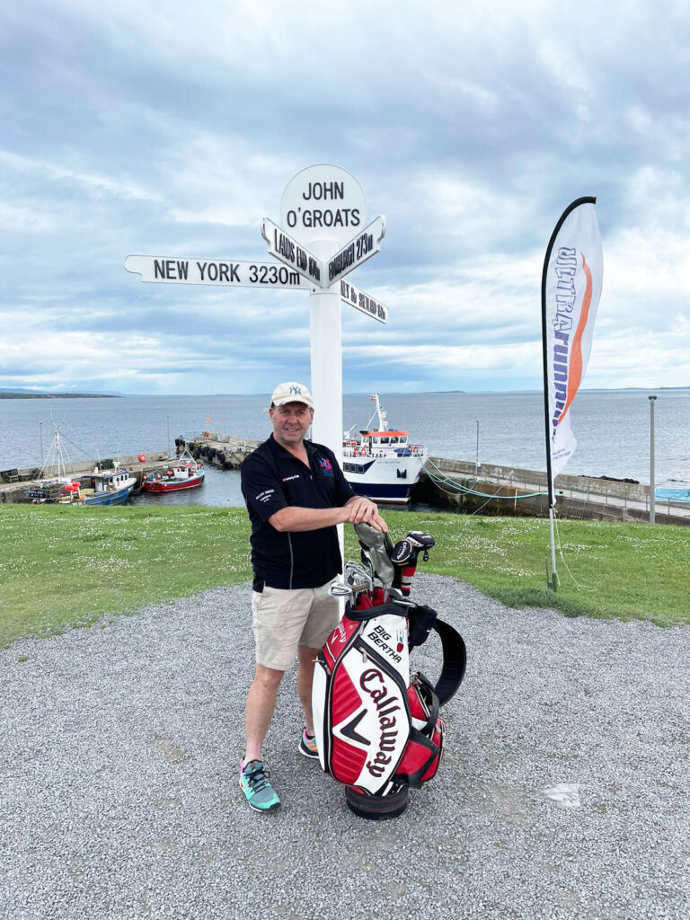 David Sullivan at his starting point in John O Groats on the northern most coast in Scotland