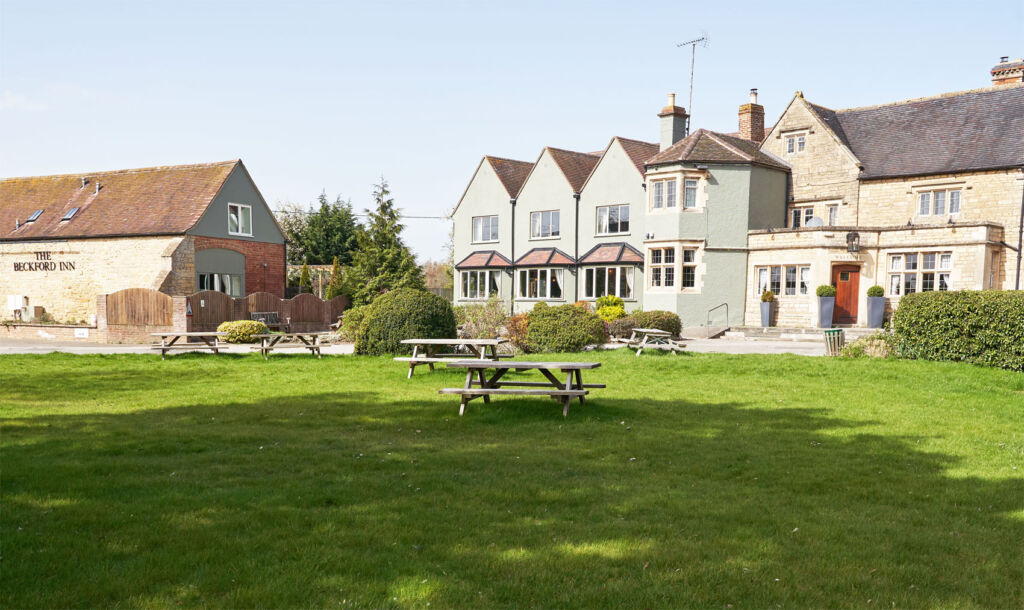 Looking at the Inn from the front garden on a bright sunny day