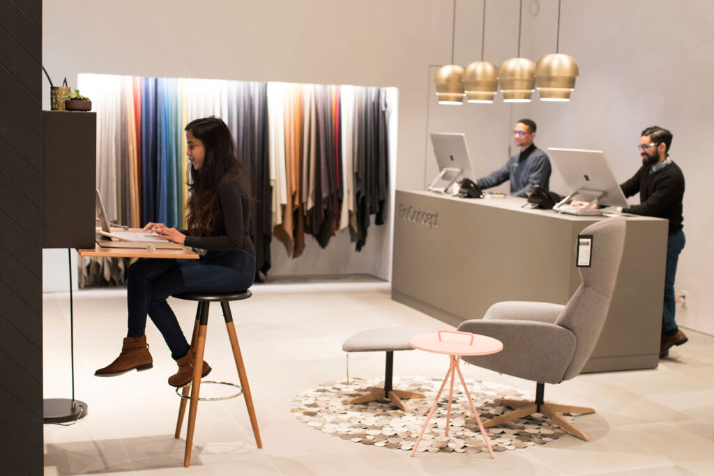 People working inside a Inside a BoConcept store