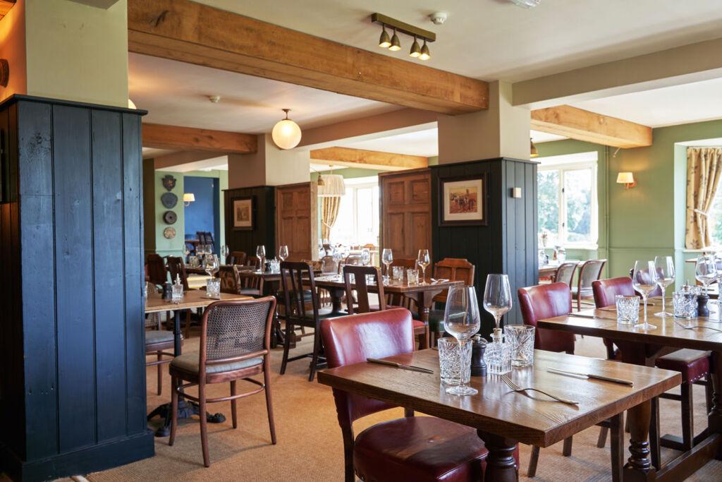 Inside the dining room at The Beckford Inn