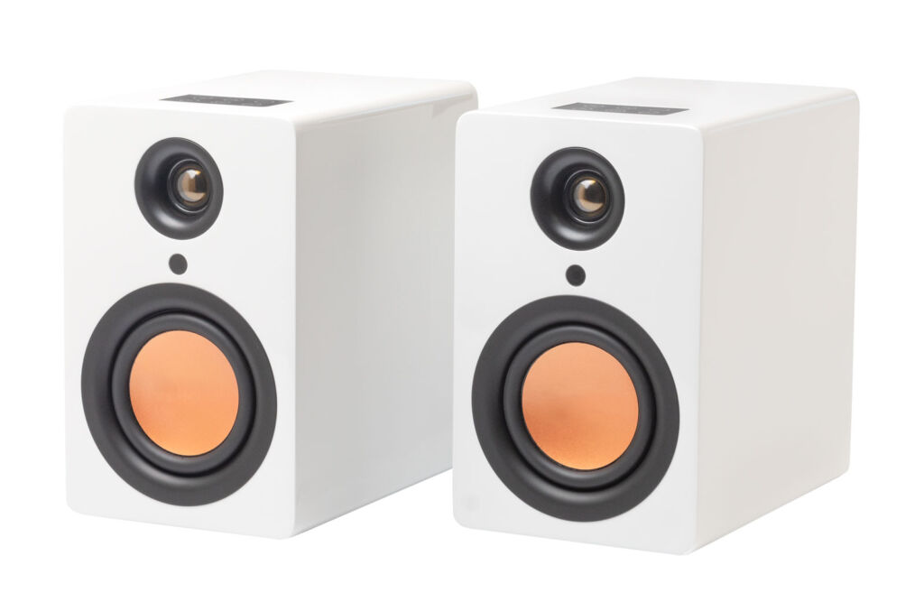 A closeup view of the uStream speakers in Piano white gloss