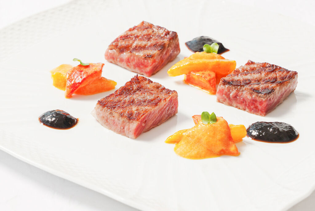 A dish with Japanese Wagyu Beef and Italian sauces