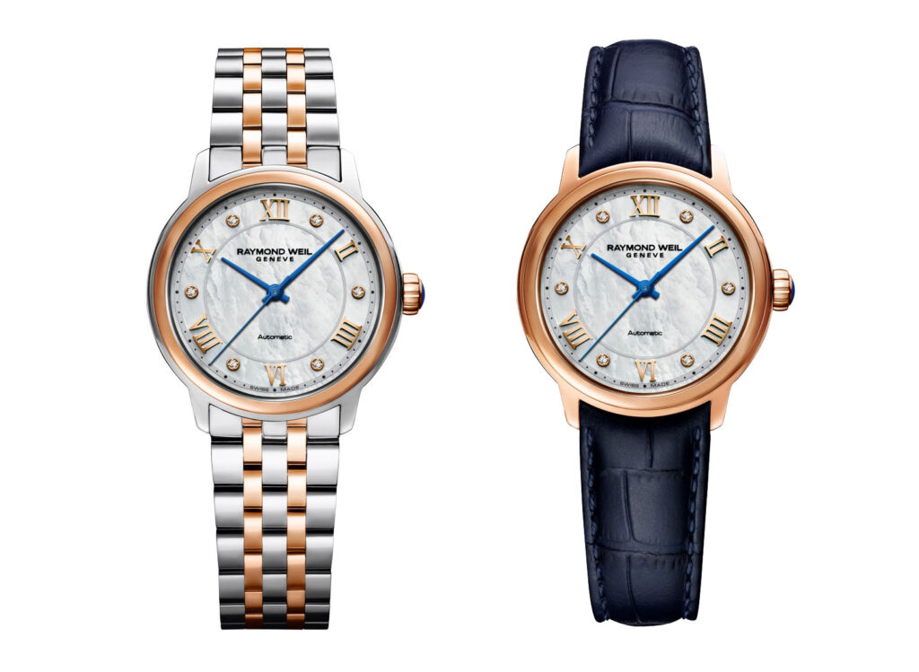 Two versions of the watches in the Maestro collection, one with a bi-metal strap the other with a leather one