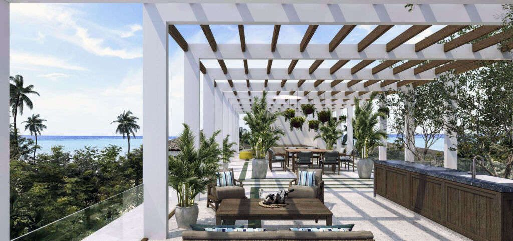 A hotel roof terrace designed by the group overlooking the sea