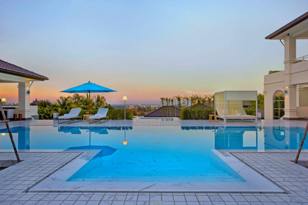 One of the private swimming pools at the luxury community