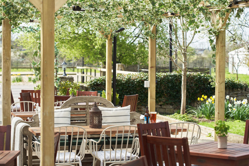 The beautiful beer garden at the inn where you are surrounded by nature