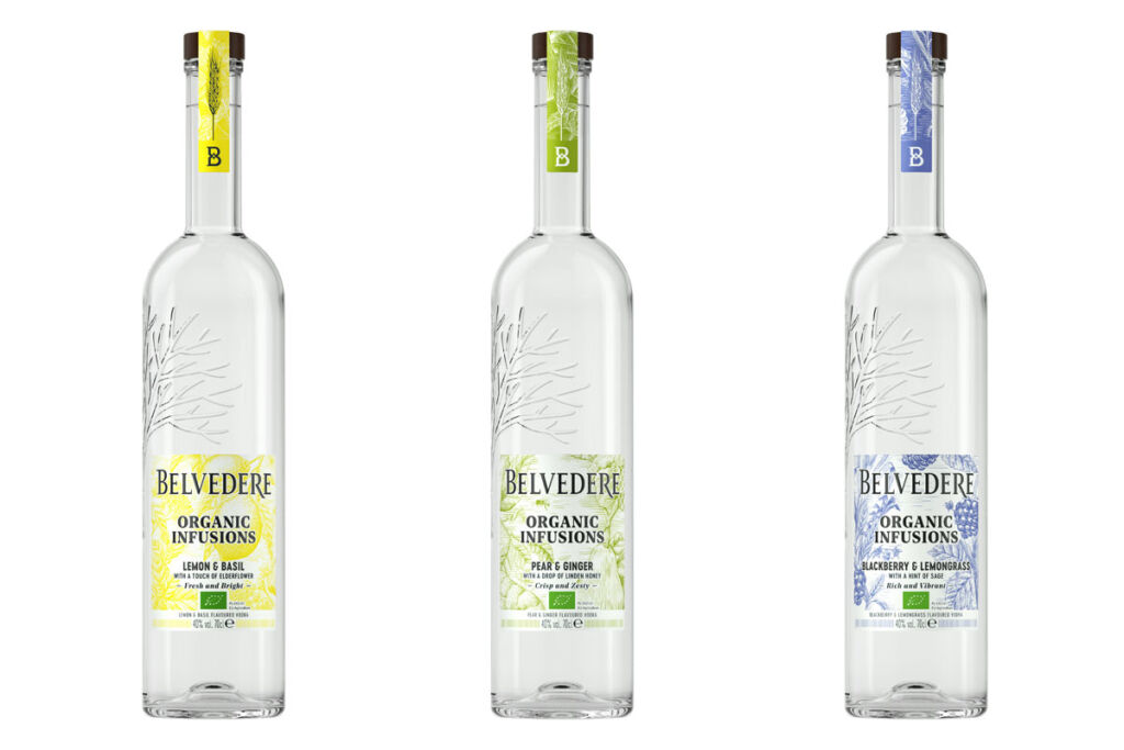 The three flavours of Belvedere Organic Infusions