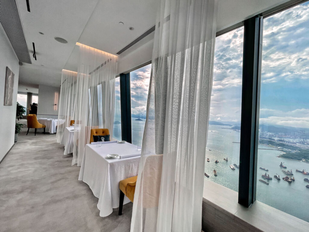 The views from inside the restaurant over the Hong Kong harbour