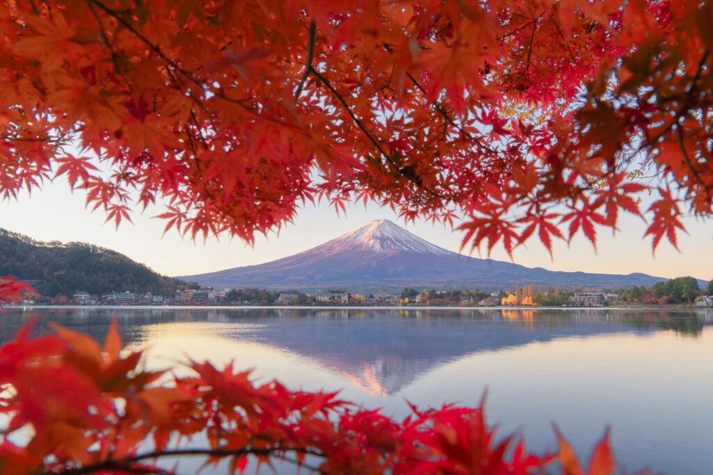 Looking at Mount Fuji from the shoreline of Shizuoka