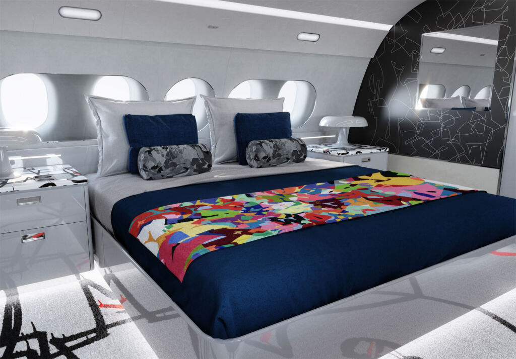 The interior of one of the luxurious bedroom suites on the jet
