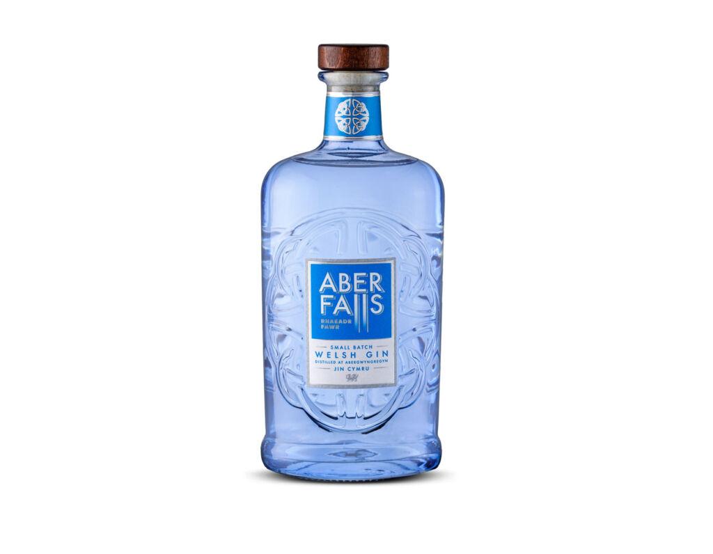 The light blue bottled Aber Falls Small Batch Gin