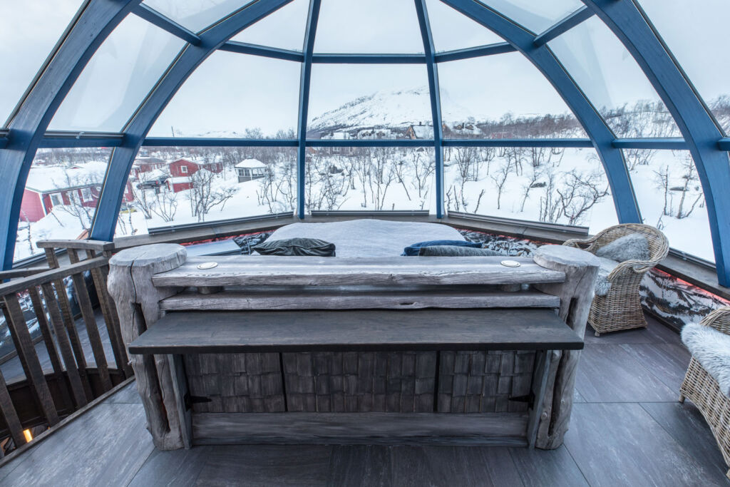 The master bedroom in one of the igloos with its glass see-thru ceiling