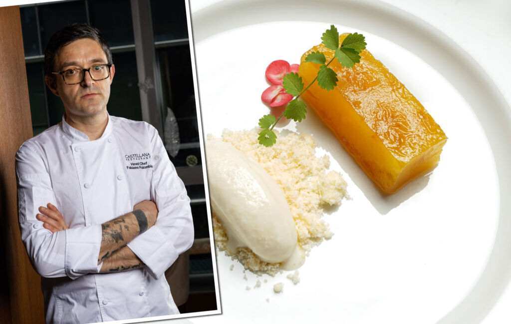 Chef Fabiano Palombini with one of his dishes