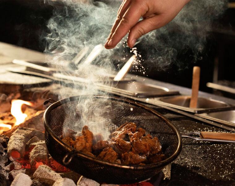 Cooking BBQ Chicken Karaage at Chotto Matte Soho