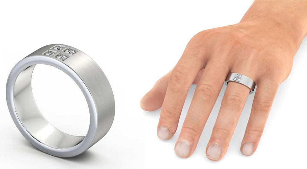 A diamond and white gold ring for a man