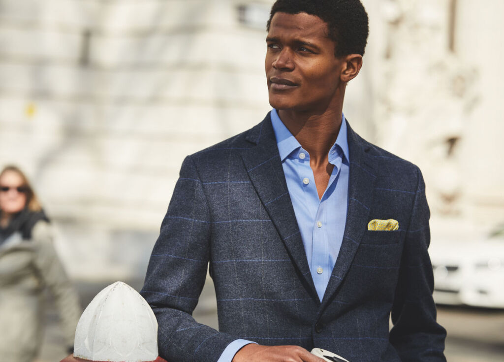 A male model wearing clothing from Charles Tyrwhitt's Business of Life collection