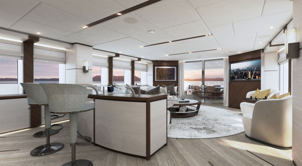 Inside the yacht's spacious sky lounge which offers ample space for guests