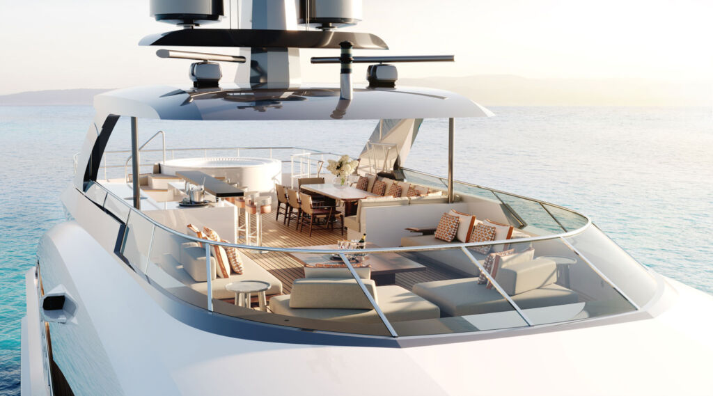 A view of the magnificent and spacious sun lounge on the yacht