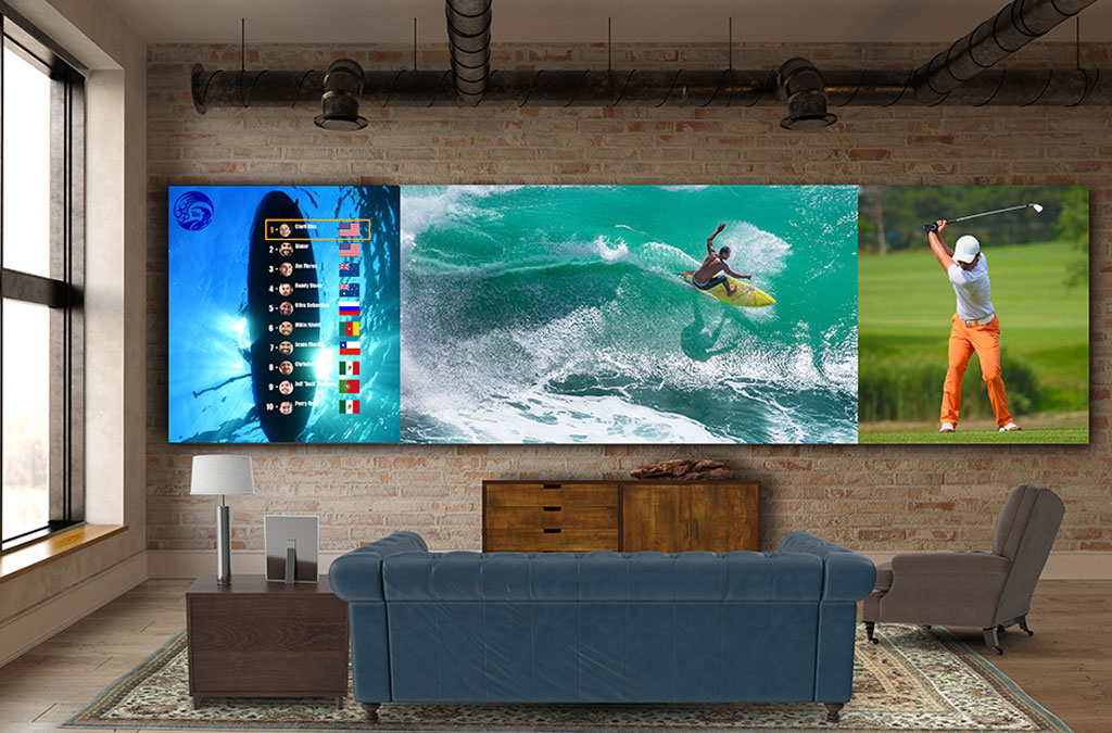 One of the displays mounted to the wall showing three different video feeds