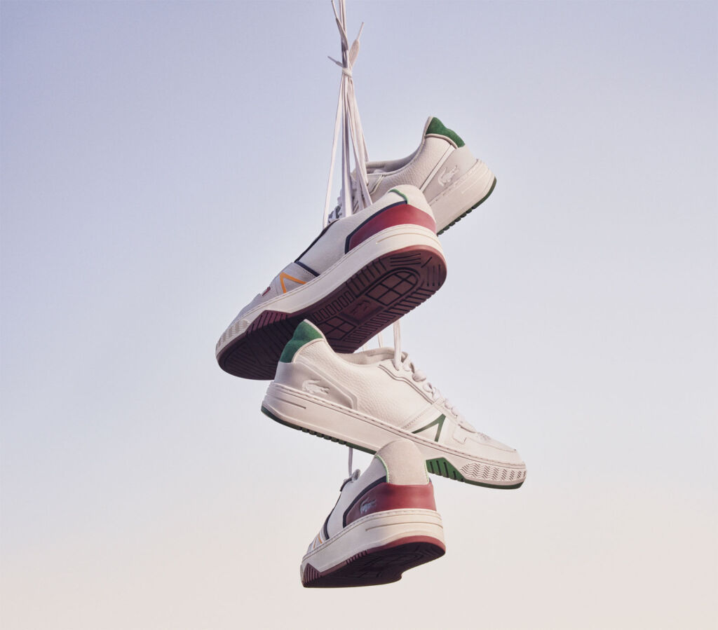 A bunch of the trainers, tied together and hanging in the air