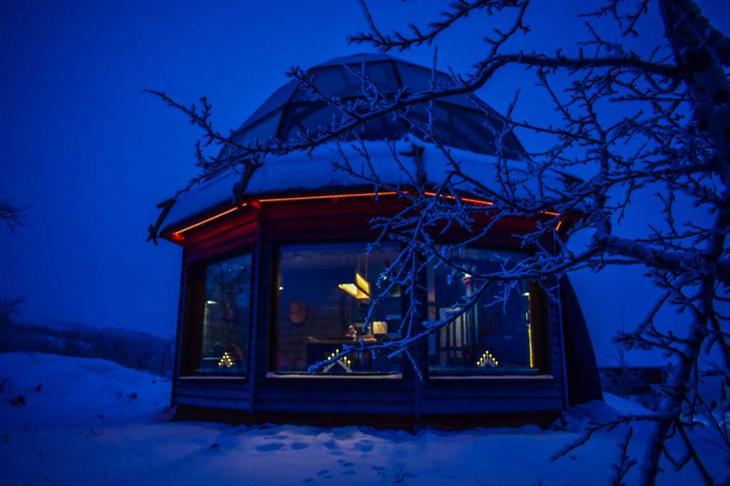 Nigh time at one of the igloos