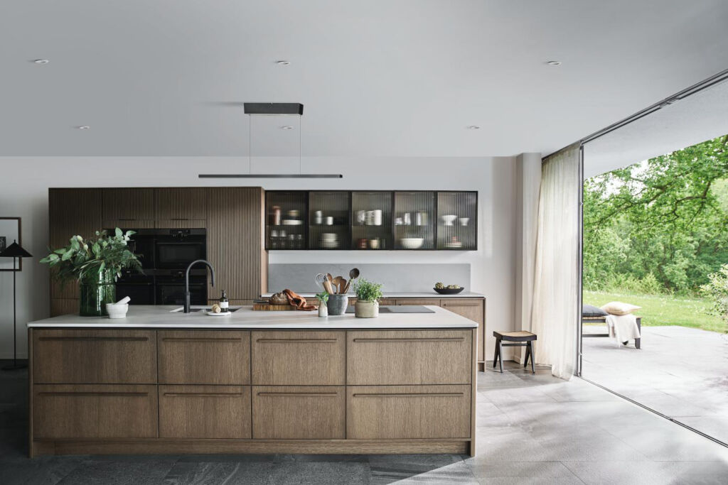 The light beam suspended above the kitchen work surface