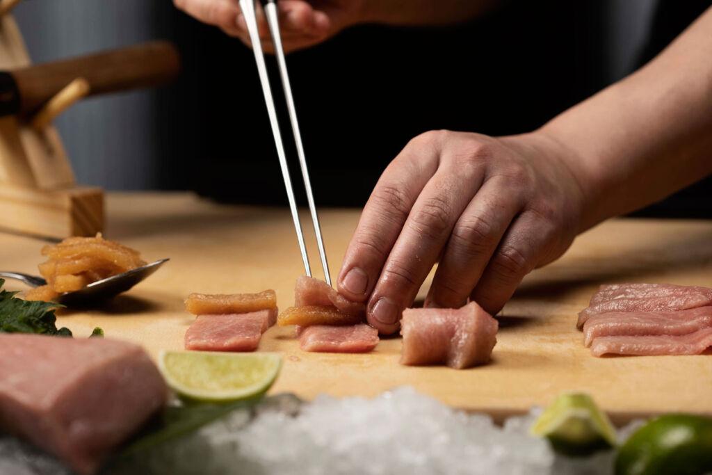 O Toro Tataki being cut and prepared at Chotto Matte Soho