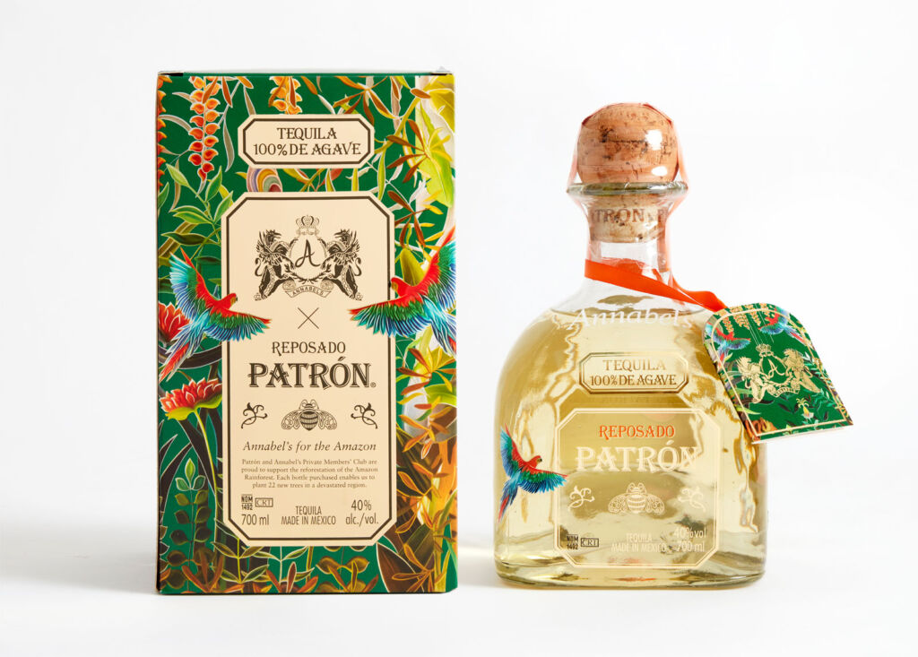 A bottle of PATRÓN Tequila Reposado with its spectacular box