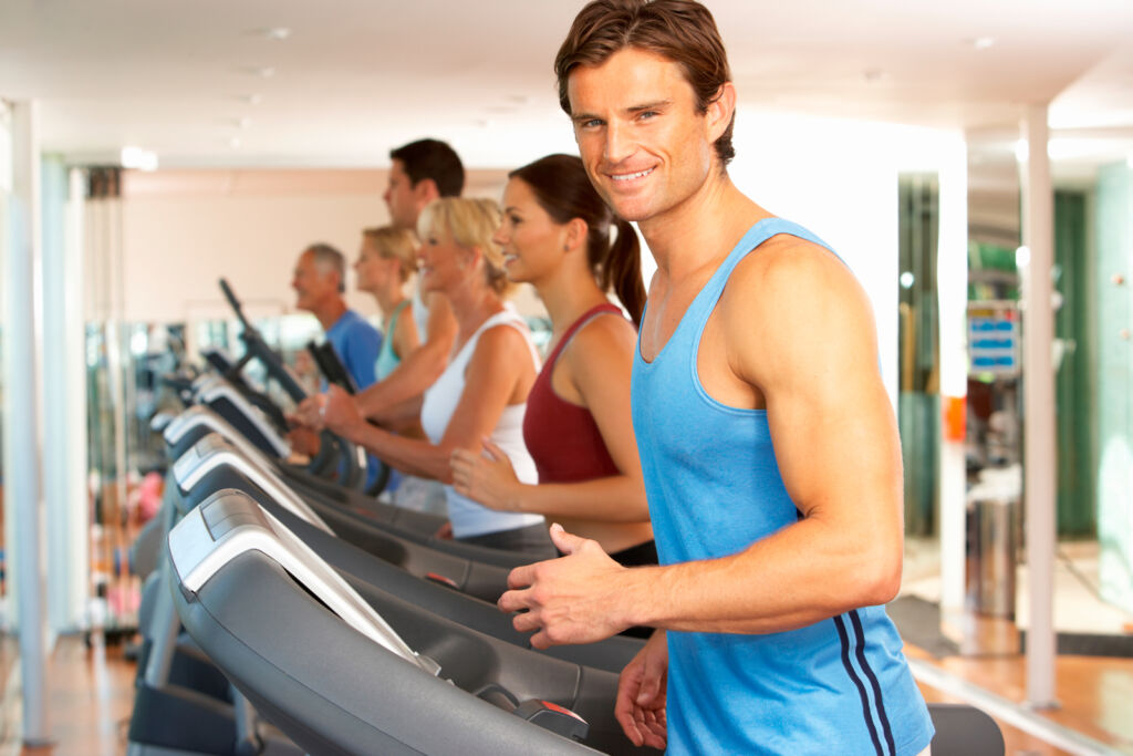 People on exercise treadmills, not corporate trying to get into better shape