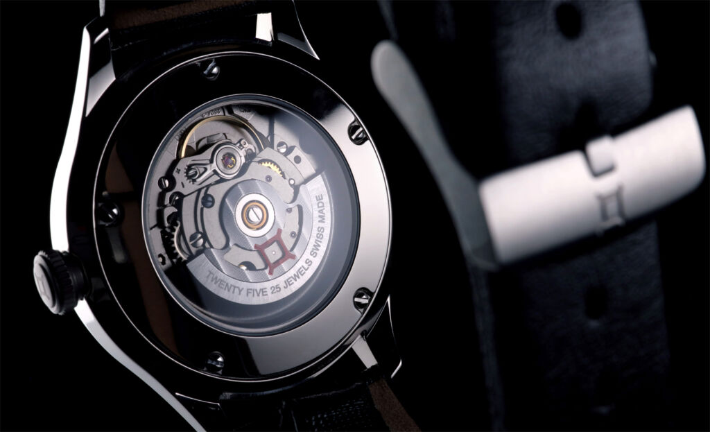A closeup view of the rear of the Kanister watch showing the movement