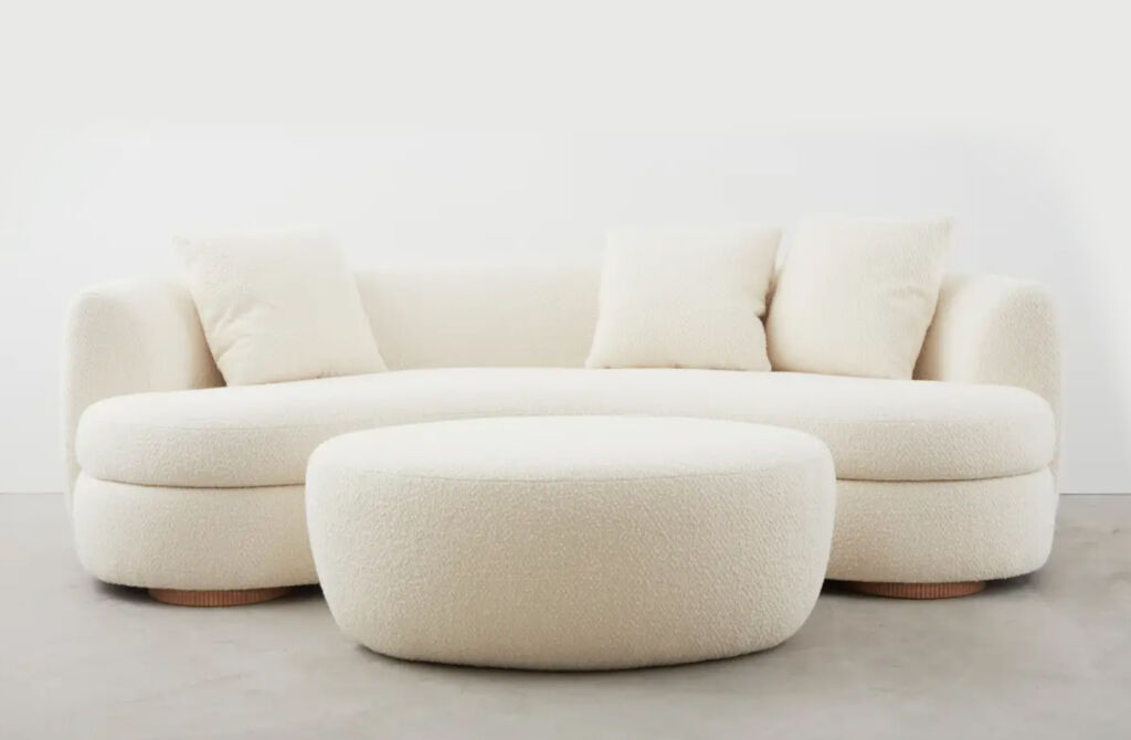 Sedilia Sennen collection curved sofa and foot stool