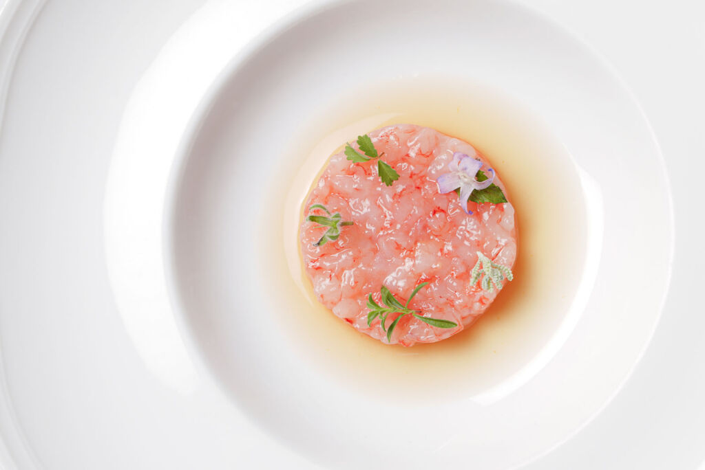 The Sicilian Red Prawn Tartar on a plate