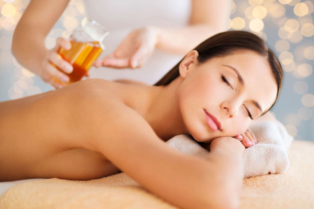 A woman enjoying one of the spa treatments