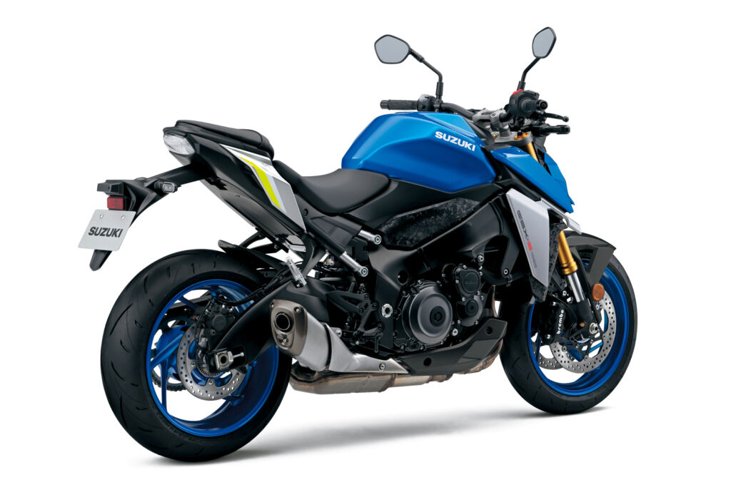 A side profile view of a blue painted version of the bike