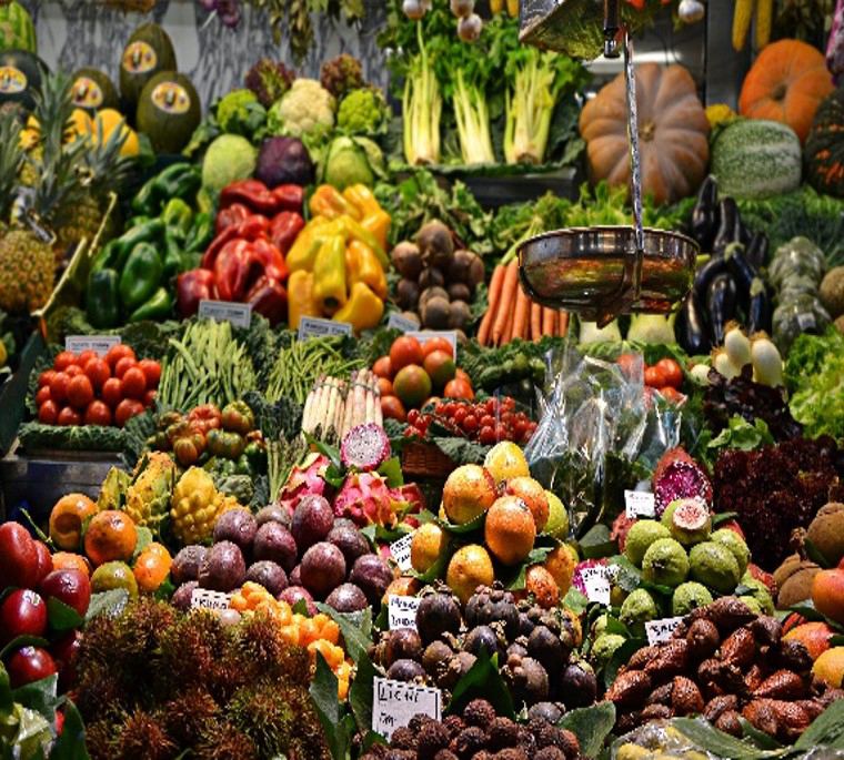 Natural produce on a local market stall