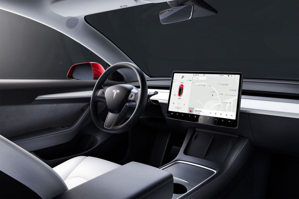A closeup view of the vehicles large touchscreen