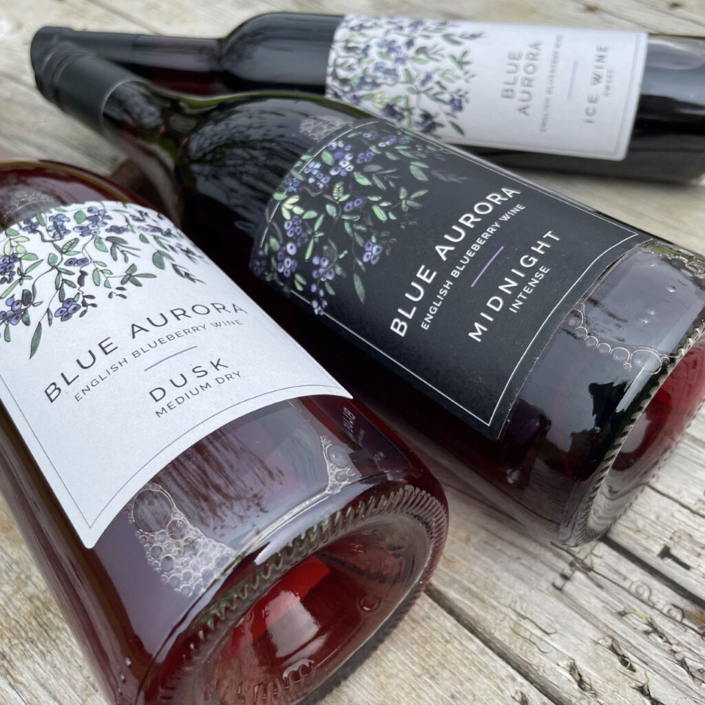 The three varieties of blueberry wine made on Lutton Farm