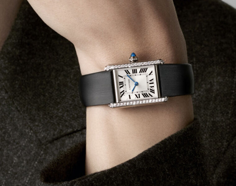 Diamond paved Cartier Tank Must Watch