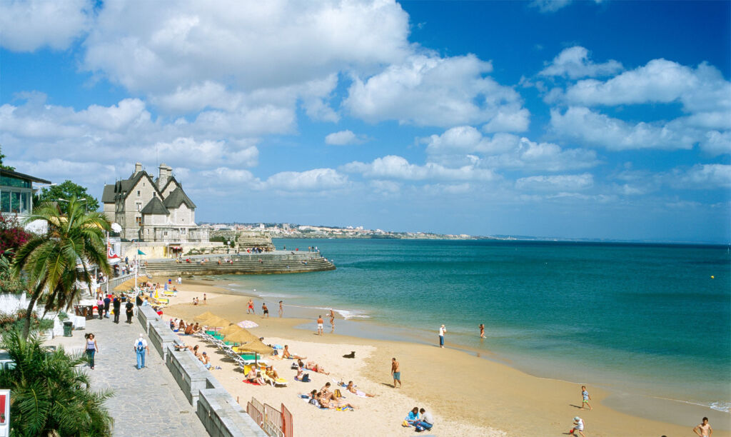 The waterfront and beach at Cascais on a sunny day