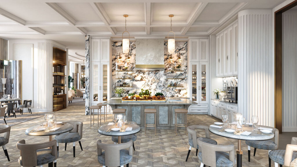 Inside the hotel's spectacular club lounge