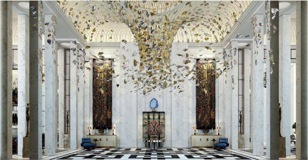 The stunning hotel lobby on the ground floor with it's incredible chandelier