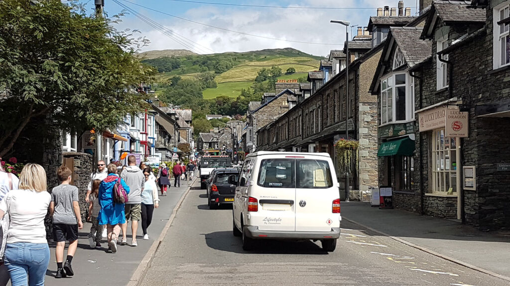 The busy streets in Ambleside in the Lake District