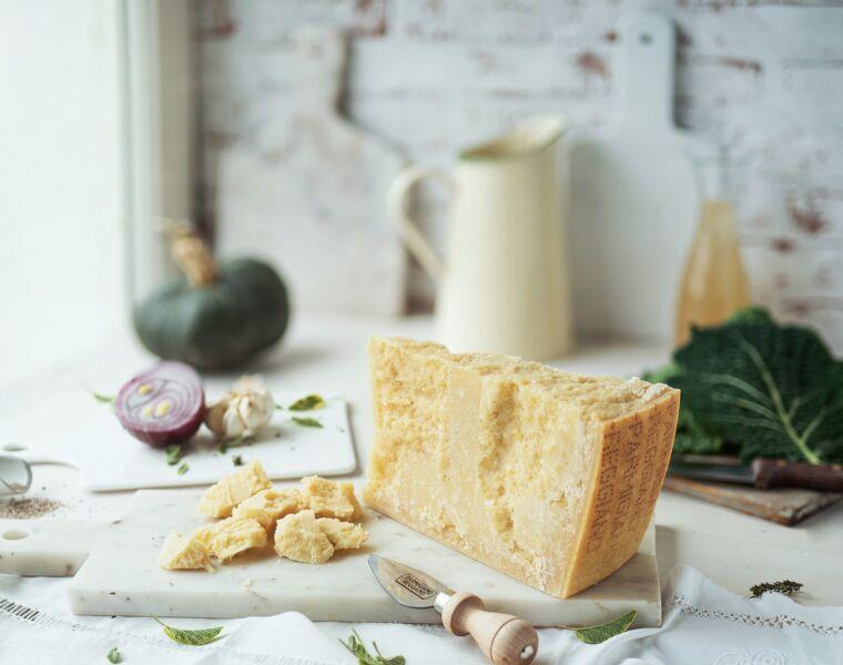 A slice of Parmigiano Reggiano cheese