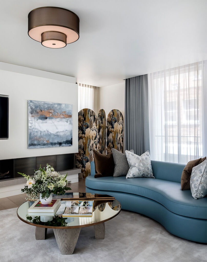 The interior of a luxury townhouse in London W1 with a perfect choice of art on the wall