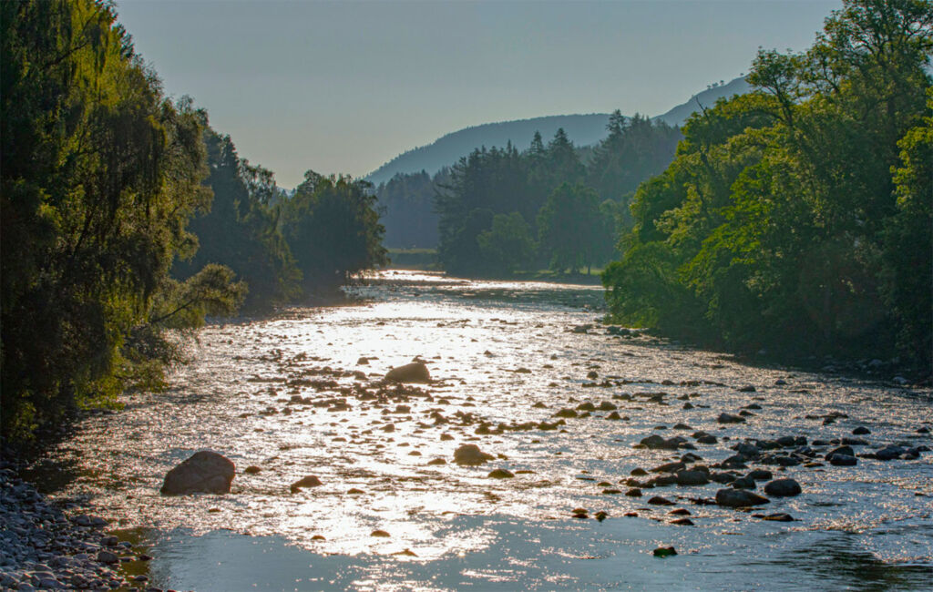 The sun shining on the River Dee